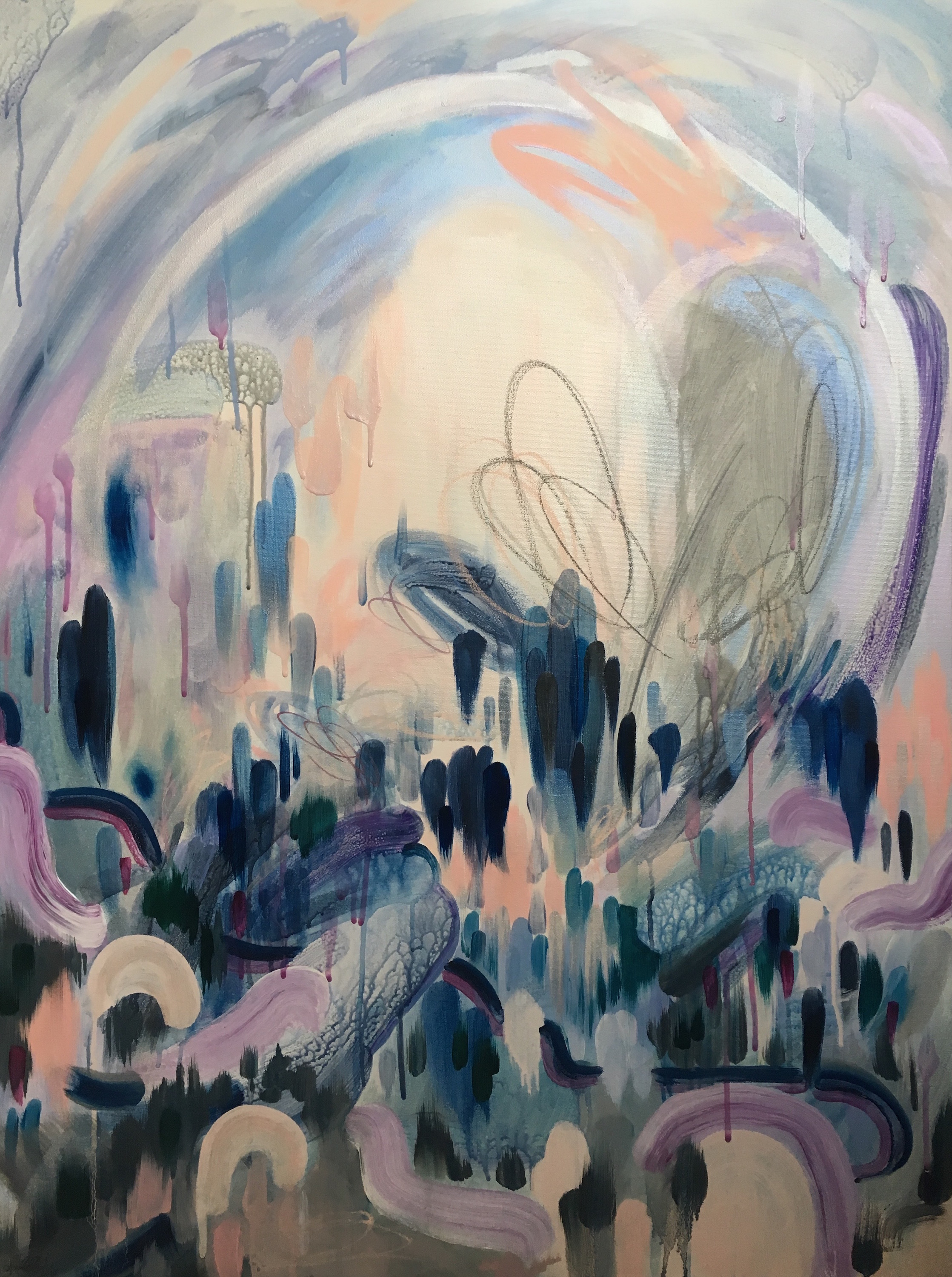 "MOONRISE VALLEY.  2018.  Oil and pastel on canvas.  30"" x 40"".  AVAILABLE"